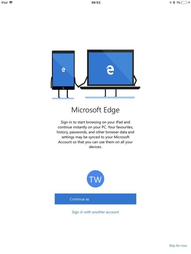 Microsoft edge para ipad